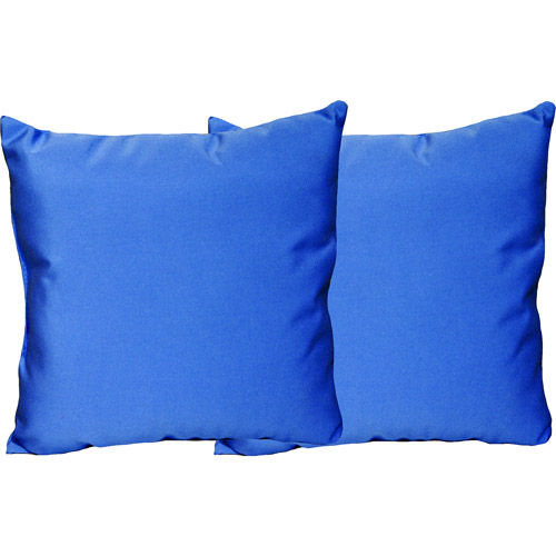 Outdoor Solid Throw Pillows, Set of 2, Sumatra Blue