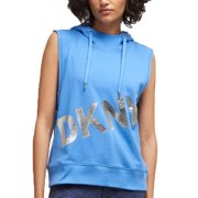 DKNY Womens Blue Hooded Printed Sleeveless Crew Neck Tunic Sweater  Size: L