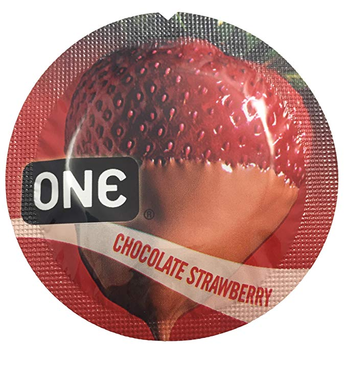 ONE Chocolate Strawberry + Silver Pocket Case, Premium Lubricated Flavored Latex Condoms-24 Count