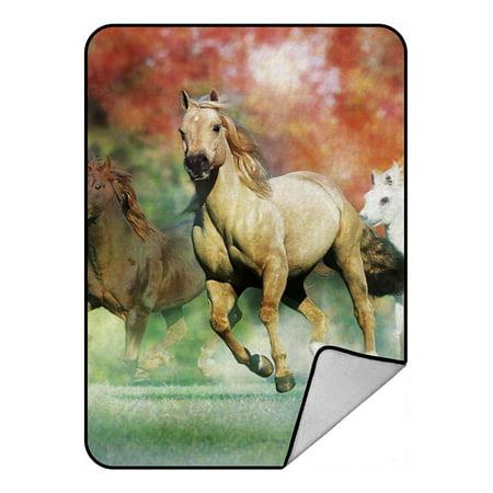 Blanket Appaloosa Horse - ZKGK Running Horse Blanket Crystal Velvet Front and Lambswool Sherpa Fleece Back Throw Blanket 58x80inches