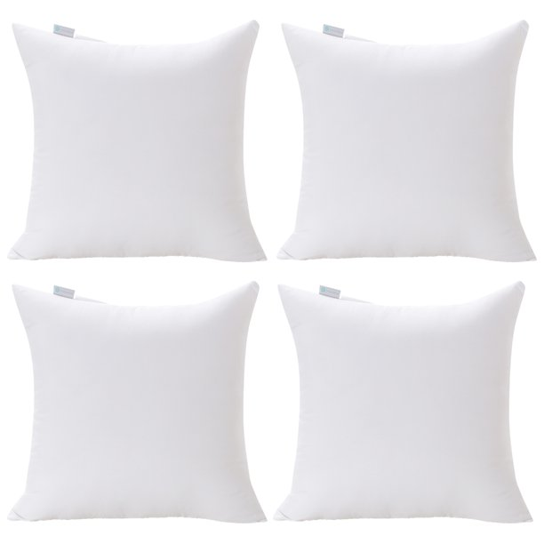 Acanva Decorative Square Throw Pillow Inserts Hypoallergenic Form Stuffer Cushion Sham Filler 20 L X 20 W White Set Of 4 Walmart Com Walmart Com