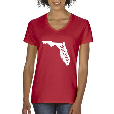 Florida State Ladies T-shirt (New Way 673 - Women's V-Neck T-Shirt Florida Native Exclusive State Collection Usa)