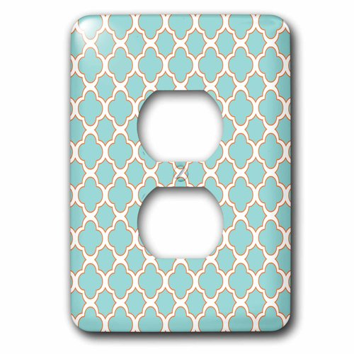 3dRose Quatrefoil Pattern Turquoise Blue and White with Orange Accent, 2 Plug Outlet Cover