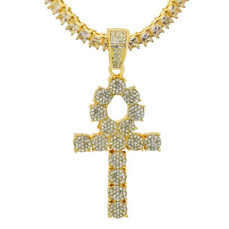 14K Yellow Gold Plated Iced Out Hip Hop Bling Symbol Of Life Ankh Cross Pendant 1 Row Square Cubic Zirconia Princess Cut Stones Tennis Chain 24