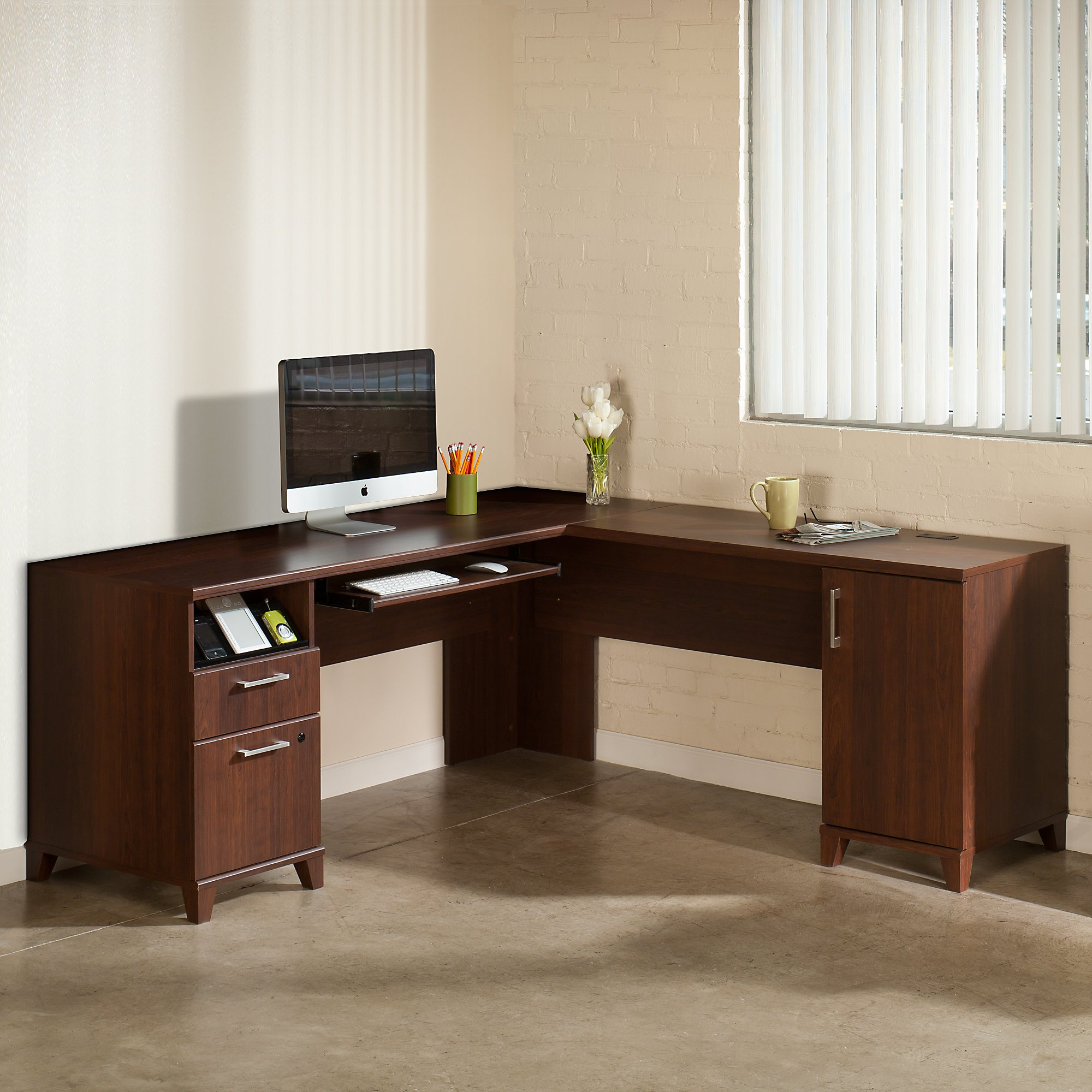 Bush Furniture Achieve L Shaped Desk in Sweet Cherry
