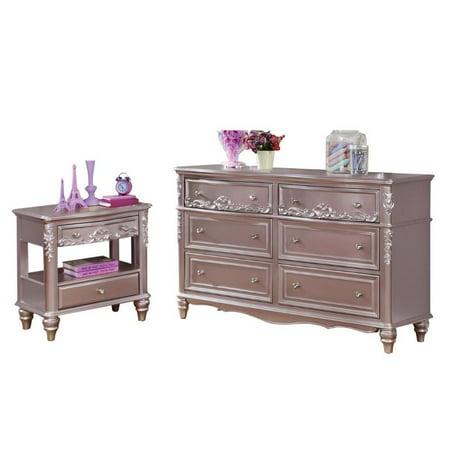 Caroline 2 Piece Girl Princess Bedroom Set with Metallic Dresser and - Metallic Set Hutch