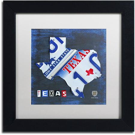 Framed Texas Map - Trademark Fine Art 'Texas License Plate Map' Canvas Art by Design Turnpike, White Matte, Black Frame