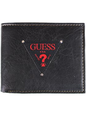 Guess Men's Black & Red Leather Passcase Double Billfold Credit Card Wallet