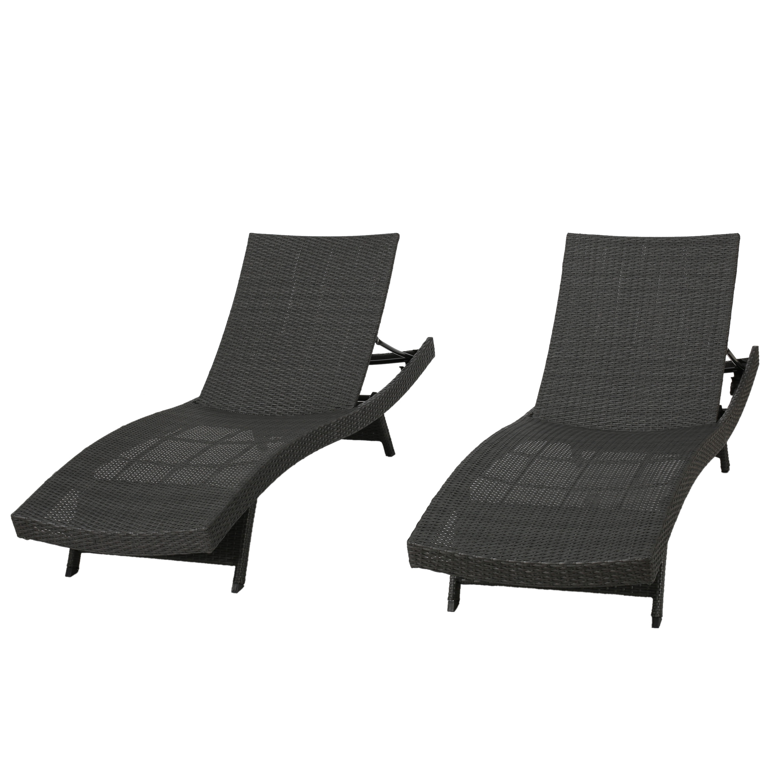 Noble House Outdoor Grey Wicker Chaise Lounge Chairs (Set Of 2)