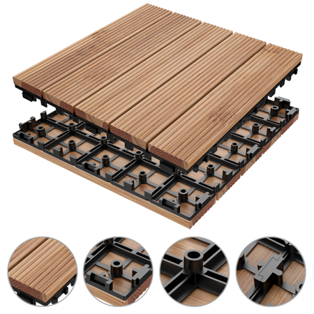 12 x 12'' ?11 PCS?Patio Pavers Interlocking Wood Tiles Wood Flooring Tiles Indoor & Outdoor For Patio Garden Deck Poolside