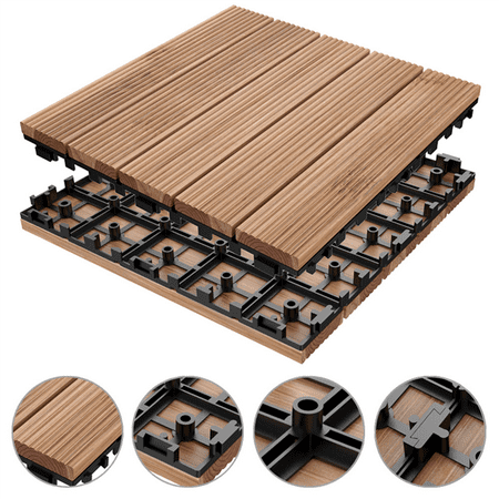 4 Slat Deck Tiles - 12 x 12'' ?11 PCS?Patio Pavers Interlocking Wood Tiles Wood Flooring Tiles Indoor & Outdoor For Patio Garden Deck Poolside