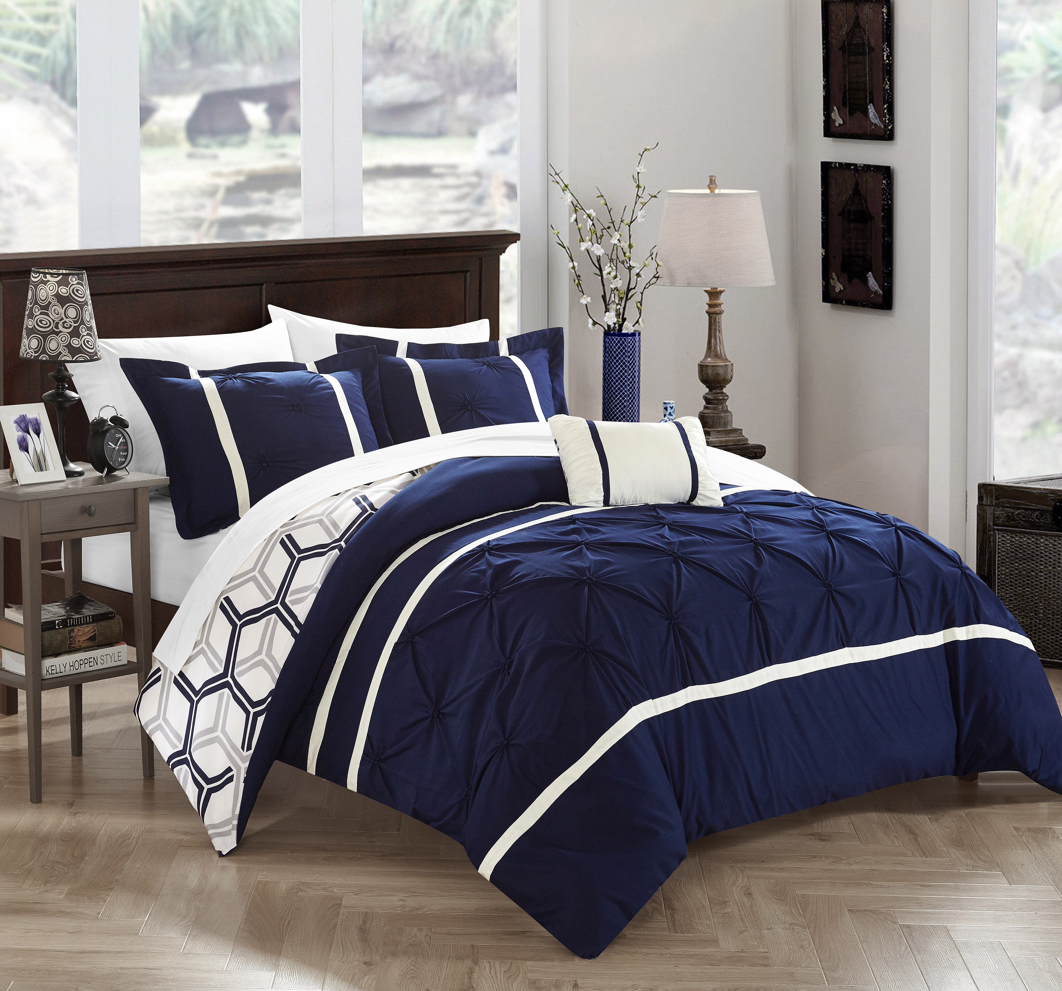 Chic Home 3-Piece Avee Pinch Pleated Ruffled and Reversible Geometric Design Printed Twin Comforter Set Navy