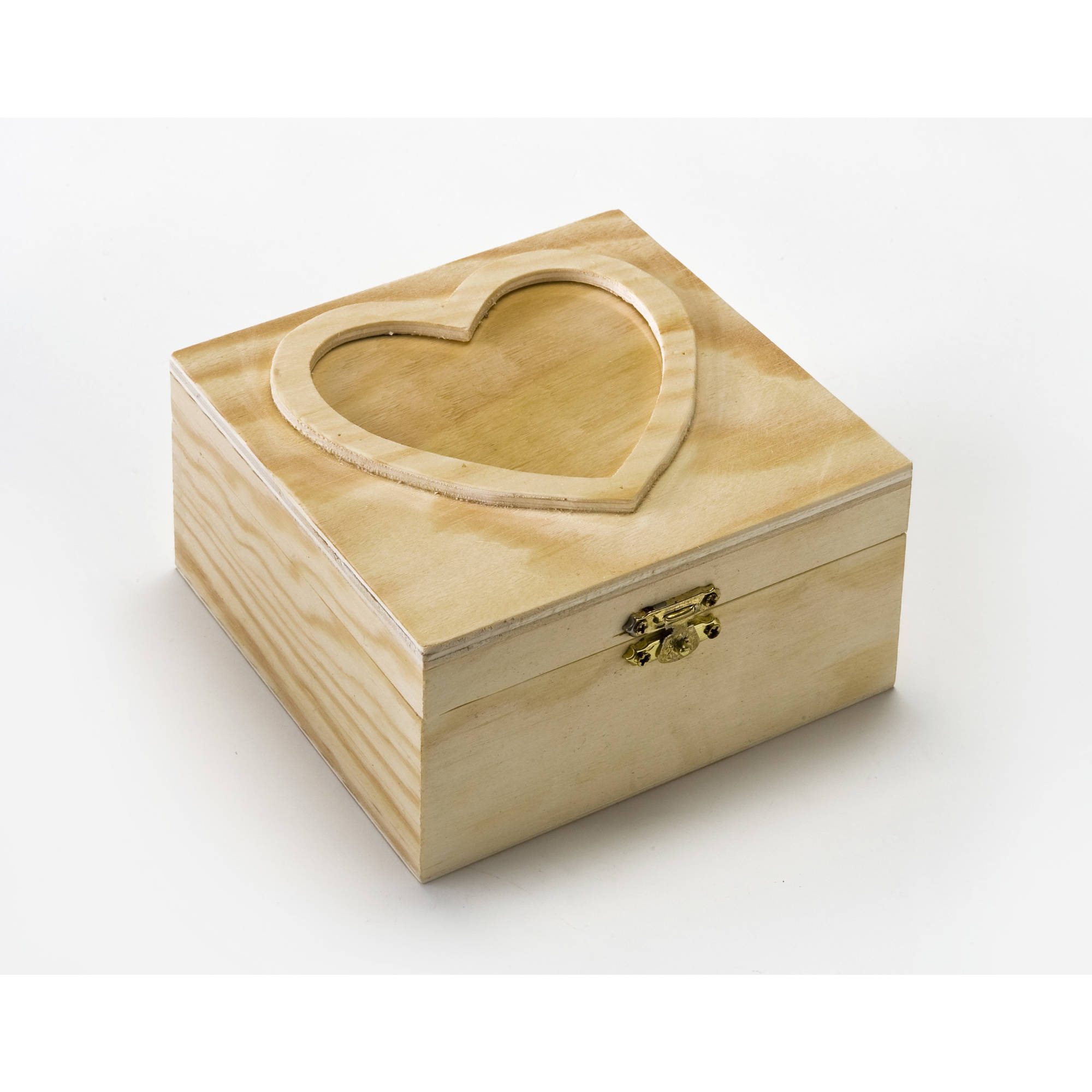 Plaid Hinged Box with Heart Lid