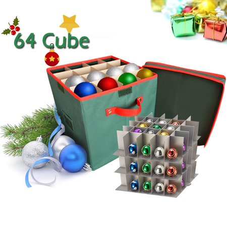 Christmas Ornament Organizer Storage Box with Lid ,iClover Holiday Ornament Storage Container with Dividers - Holds up To 64 Round Cube Ornaments Xmas Ball- 12
