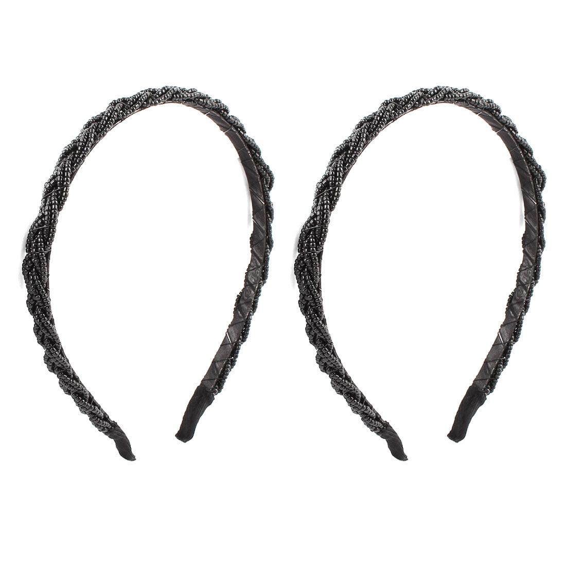 2 Pcs Black Plastic Beads Detail Metal Hair Band Headbands for Ladies - image 3 of 3