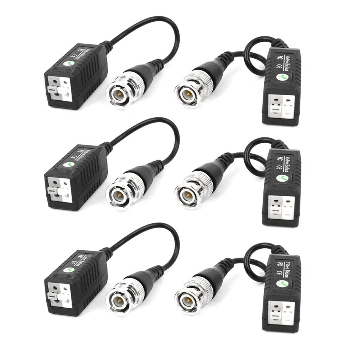 6 Pcs Cat5 Coaxial Cable BNC UTP Passive Video Balun for CCTV Camera