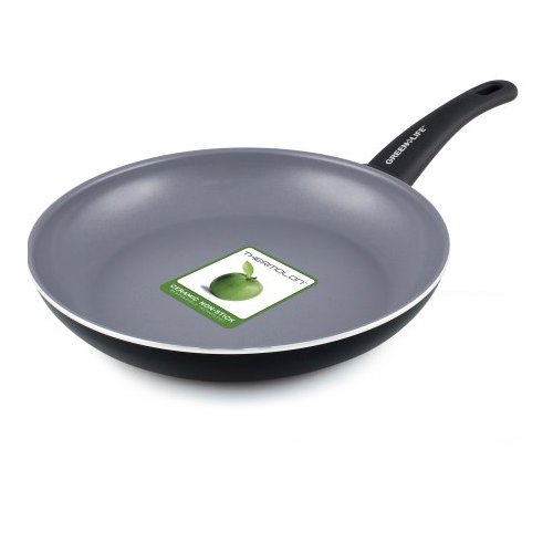 "GreenLife Healthy Ceramic Non-Stick 10"" Soft-Grip Black Aluminum Open Fry Pan"