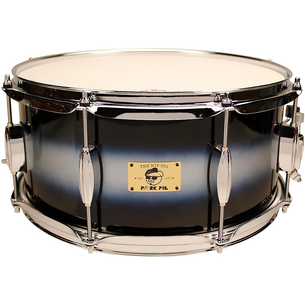 Pork Pie Hip Pig Eastern Mahogany Snare Drum 14 x 6.5 in. Blue/Silver Duco Finish