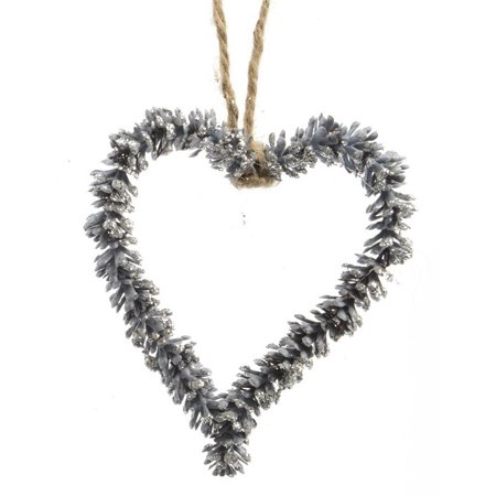 "Kaemingk 5.5"" Threaded Pine Cone Heart Christmas Ornament - Blue"