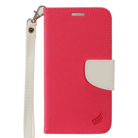 Insten Book-Style Leather Fabric Stand Card Case Lanyard w/Photo Display For Apple iPhone 8 / iPhone 7 4.7 inch - Hot Pink/White (Apple Lanyard)