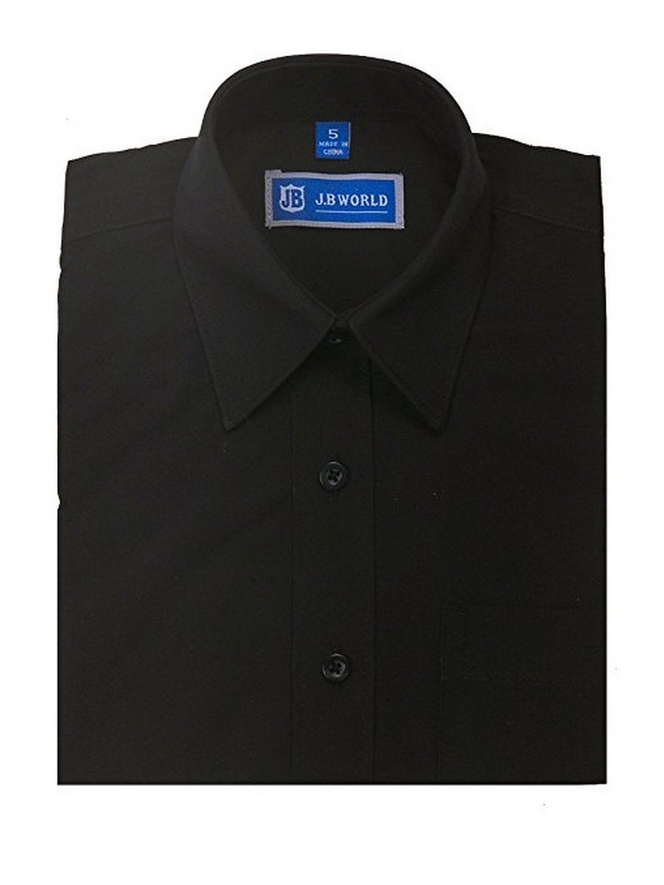 JB World Boys Black Short Sleeve Button Front Uniform Dress Shirt
