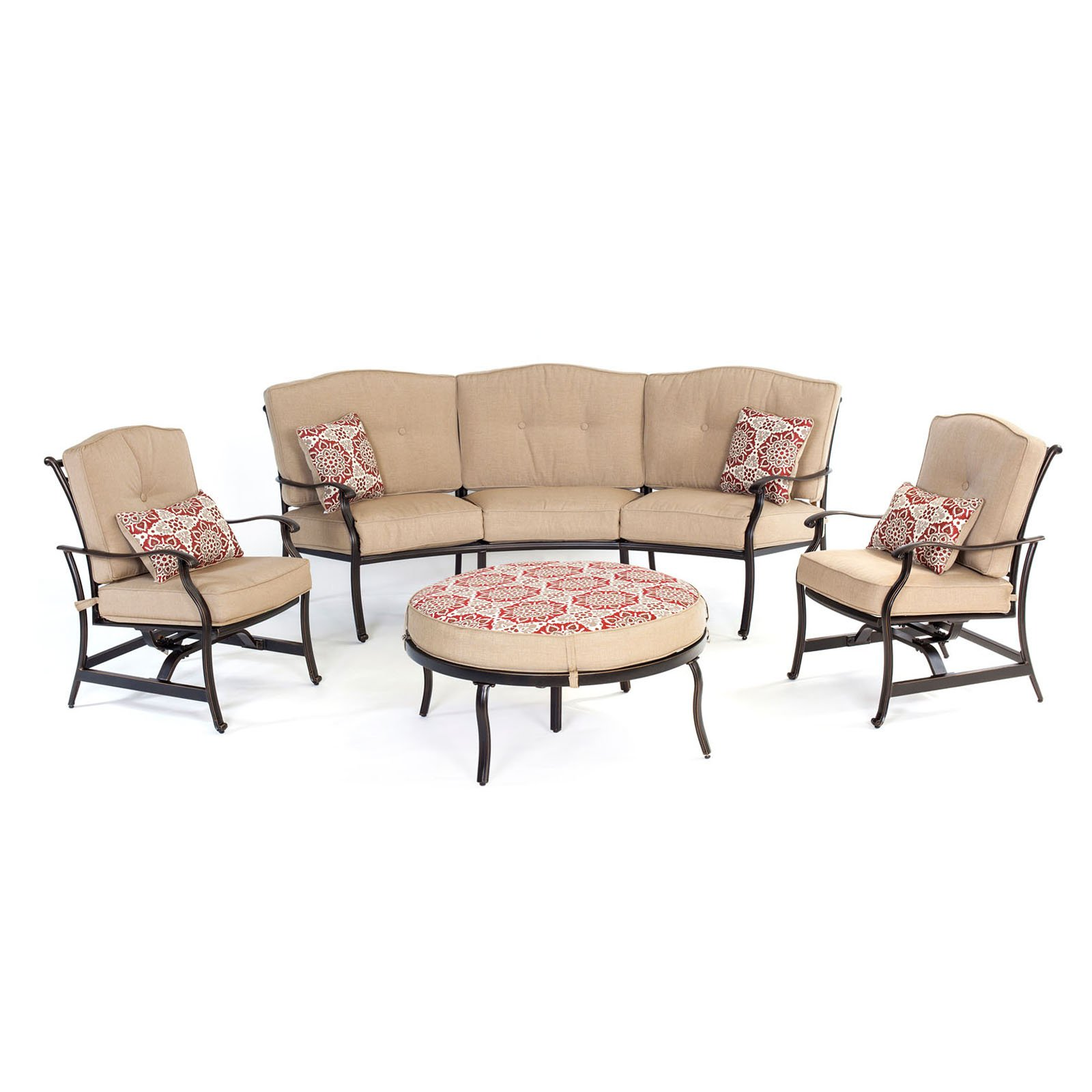 Hanover Outdoor Traditions 4-Piece Patio Set with Reversible Ottoman and Accent Pillows, Natural Oat/Berry