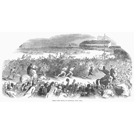 Foot Race 1844 Nthree And Ten-Mile Races At Hoboken New Jersey 19 November 1844 Attracted Huge Crowds Wood Engraving From A Contemporary English Newspaper Rolled Canvas Art -  (24 x 36) Huge Contemporary Acrylic