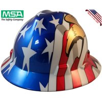 MSA Freedom Series Full Brim American Flag Hard Hats with 2 Eagles - Staz On Suspension