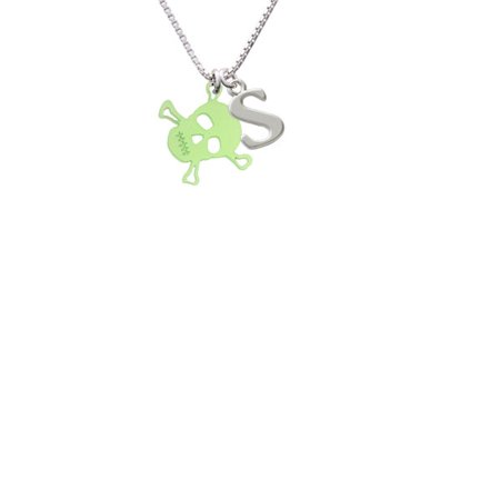Acrylic Small Lime Green Skull Capital Initial S Necklace