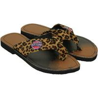 Detroit Pistons Women's Cheetah Strap Flip Flops