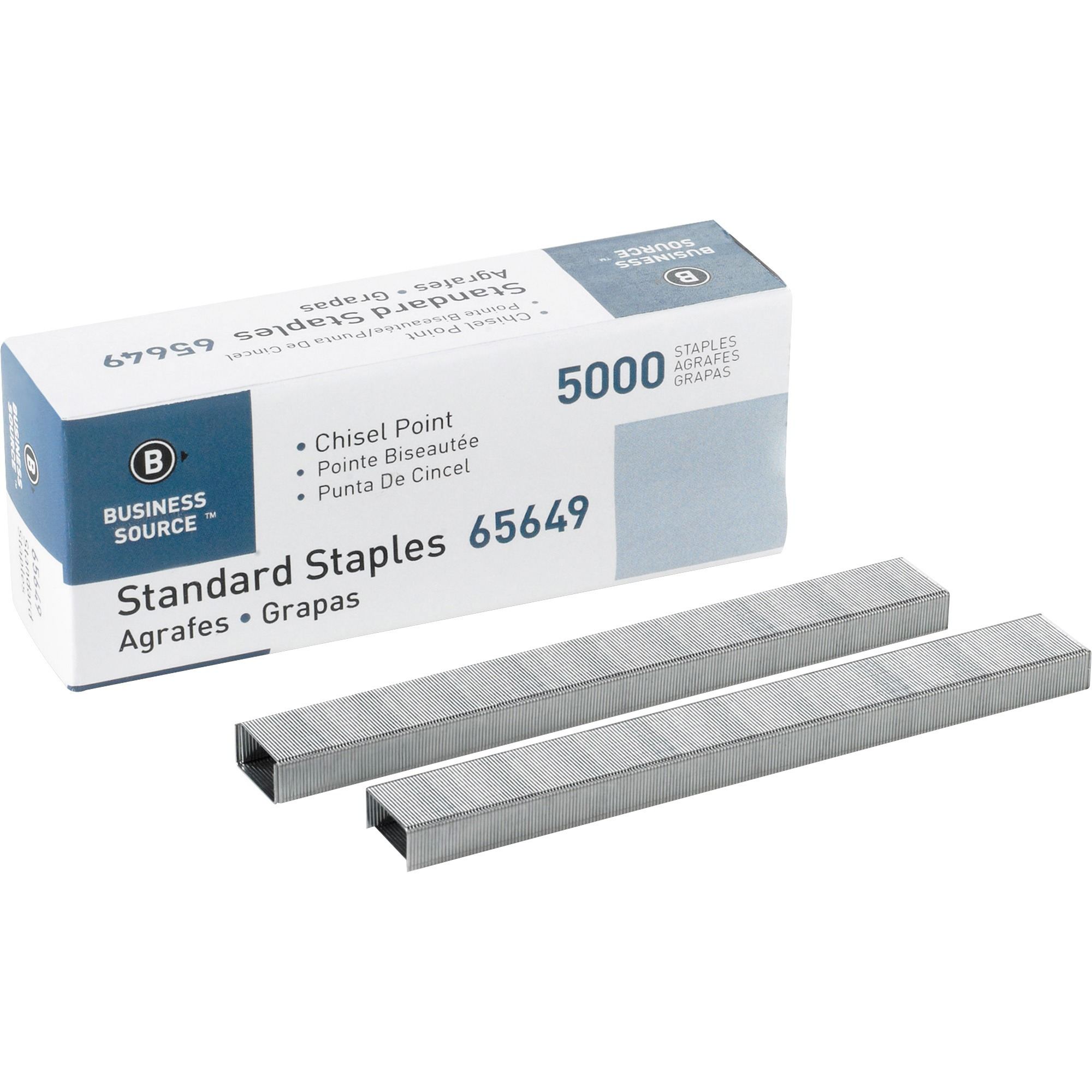 Business Source, BSN65649, Chisel Point Standard Staples, 1 Box, Silver