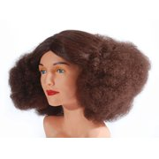 Star Power Women Discopuff Curly Poofy Costume Wig, Brown, One Size