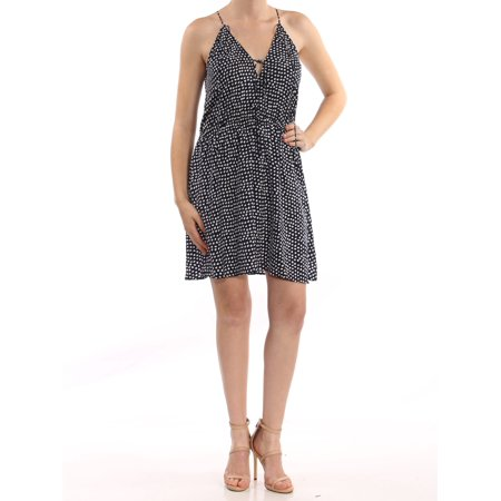 THE FIFTH LABEL Womens Black White Polka Dot Sleeveless Keyhole Above The Knee Fit + Flare Dress  Size: