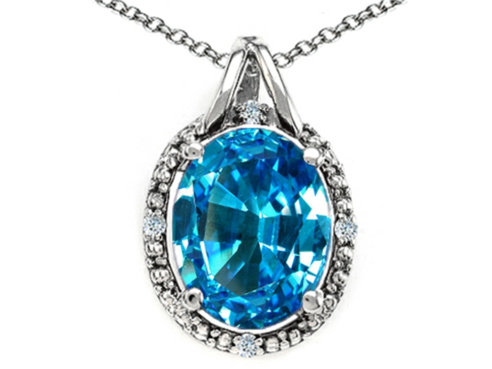 Tommaso Design Oval 10x8mm Genuine Blue Topaz Pendant Necklace by