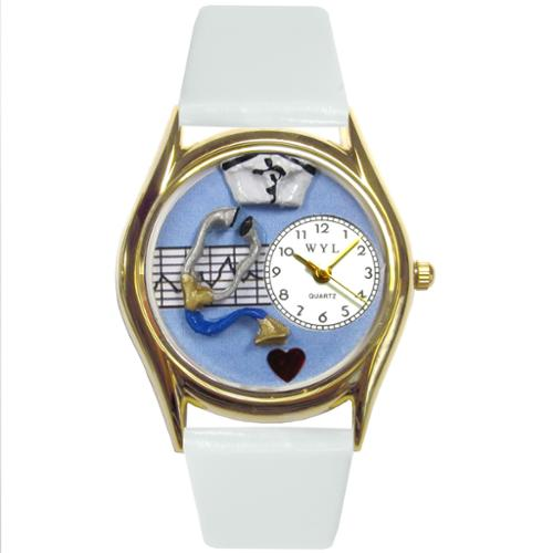 Whimsical Nurse Blue White Leather Watch
