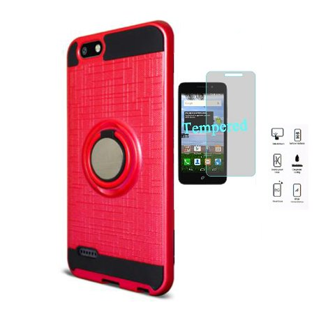 Phone Case for ZTE Zfive G LTE (Z557BL), Zfive C (Z558VL) Ring Stand Case +  Tempered Glass Screen Protector (Red)