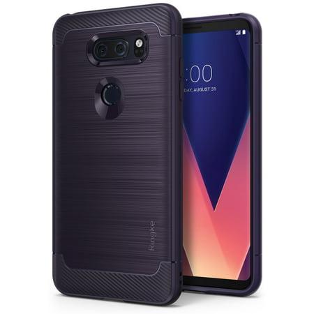 - LG V30 / LG V30 Plus / LG V30S ThinQ Phone Case, Ringke [Onyx] Fine Brushed Metal Design [Flexible & Slim] Dynamic Stroked Line Durable Anti-Slip TPU Impact Shock - Plum Violet