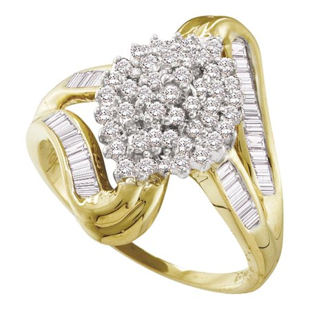 Gold Tone Baguette (10kt Yellow Gold Womens Round Diamond Cluster Swirl Shank Baguette Ring 1/2 Cttw )