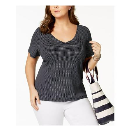 TOMMY HILFIGER Womens Navy Polka Dot Short Sleeve Scoop Neck T-Shirt Top Size: 1X