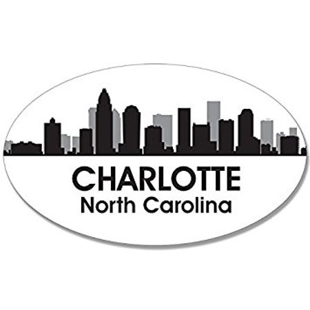 Oval B/W SKYLINE of CHARLOTTE Sticker Decal (city nc decal) Size: 3 x 5 inch
