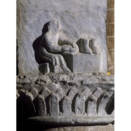 Figure of Shoemaker, Relief, Basilica of Twelve Apostles, Old Lodi, Lombardy, Italy, 14th Century Print Wall Art ()
