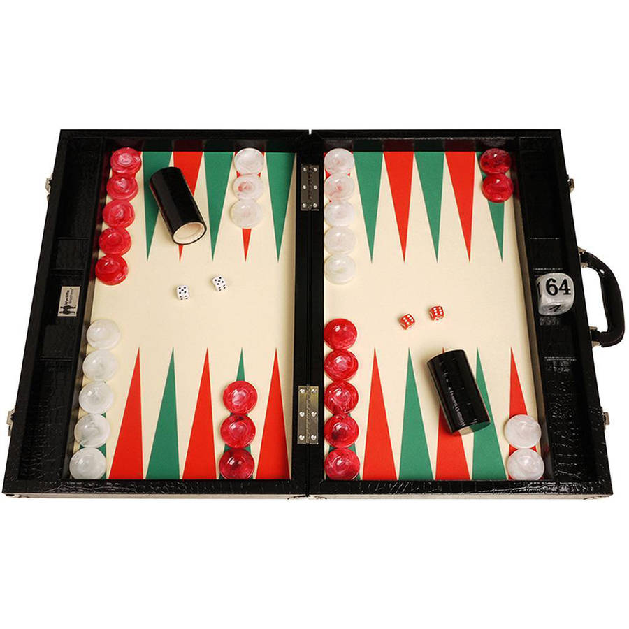 Wycliffe Brothers Tournament Backgammon Set, Black Croco with Cream Field (Green Points), Gen III by Wycliffe Brothers