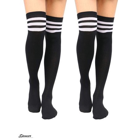 Spencer 2 Pairs Women Stripe Tube Socks Over the Knee Leg Knit Crochet Legging Warmer Thigh High Boot Socks