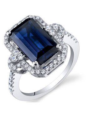 4.5 ct Cushion Cut Created Blue Sapphire Cocktail Ring in Sterling Silver