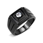 5x5mm Round Cut CZ Solitaire Black IP Stainless Steel Mens Ring - Size 8