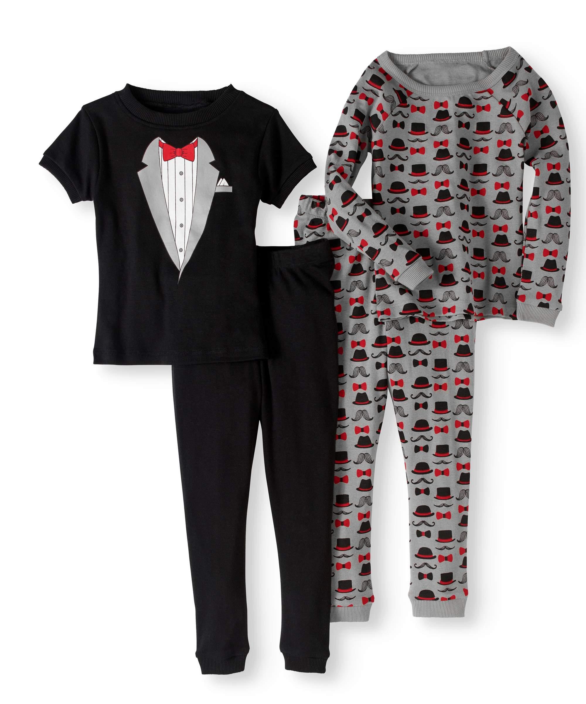 Long Sleeve Top, Short Sleeve Top & Jogger Pants Pajamas, 4-piece Set (Toddler Boys)
