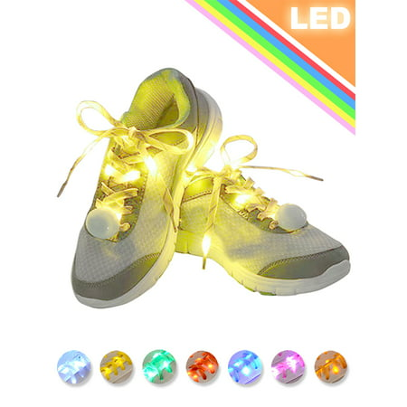 IClover [ 2 Pairs ] LED Shoelaces Luminous Flashing Shoelaces Disco Party Light Up 4 Flashing Modes Lighting Glow Nylon Strap Yellow & - Led Light Up Shoelaces