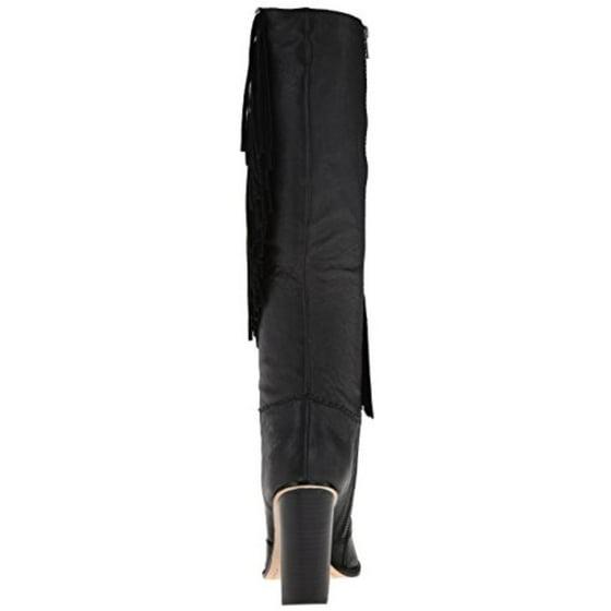 b9d1a753b90 Cynthia Vincent - Cynthia Vincent Womens Navy Leather Fringe Knee ...