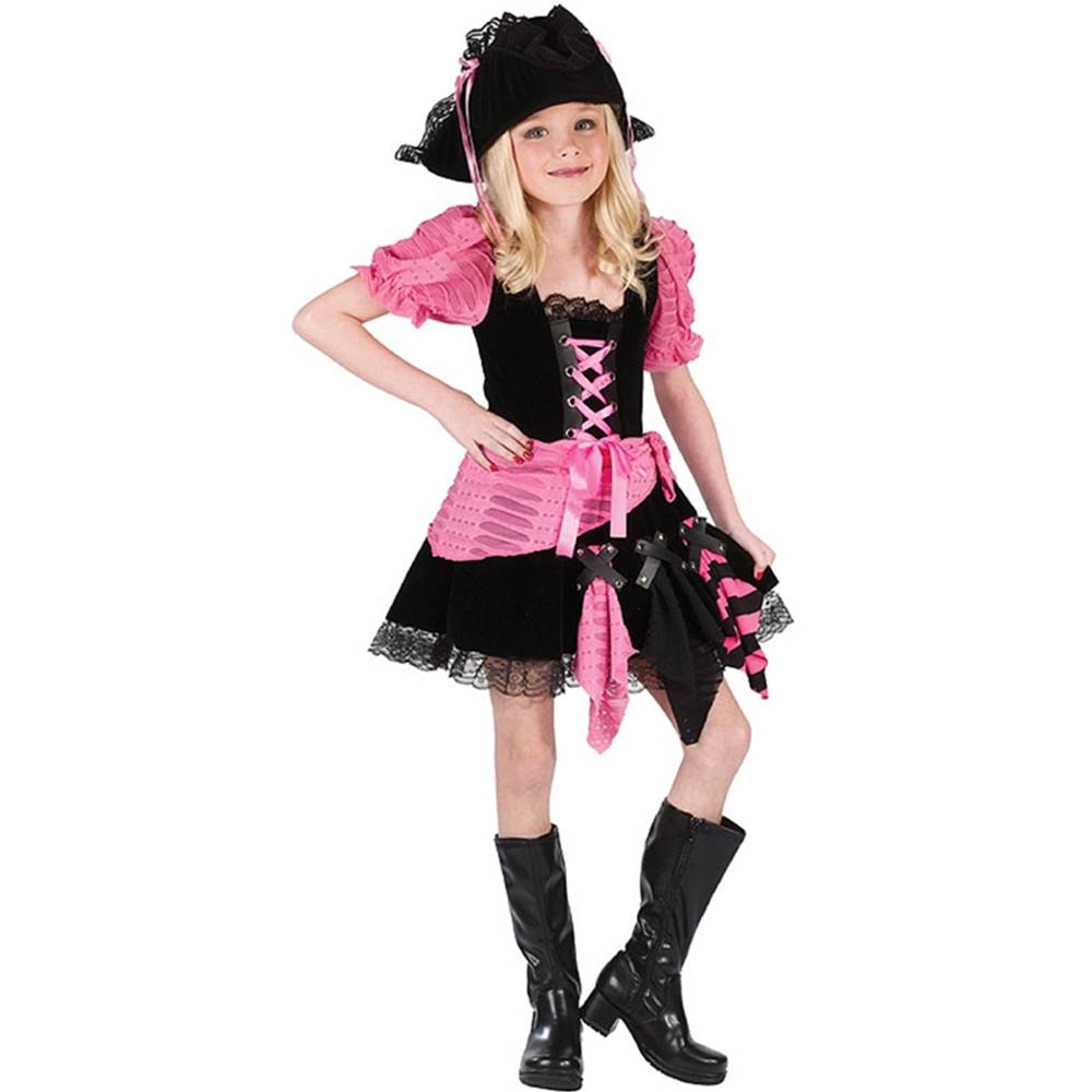 Pink Punk Pirate Kids Costume