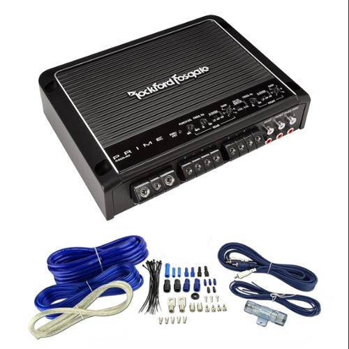 Rockford Fosgate R400-4D 400W 4 Channel Car Audio Amplifier + 4 Gauge Amp Kit